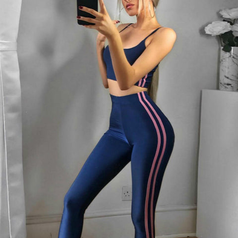 Blue Crop Top Legging Pants 2 Pcs Female Striped - CLEVERFITS