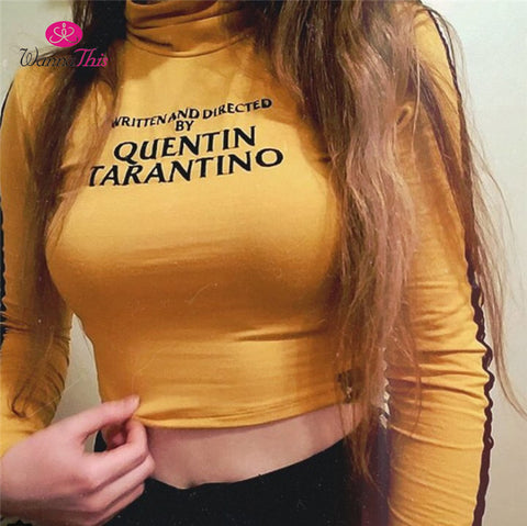 QUENTIN TARANTINO Crop Tops Turtleneck Skinny Short T-Shirt - CLEVERFITS