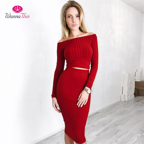 Sets Women Solid Red Slash Neck Long Sleeve 2 Pcs - CLEVERFITS
