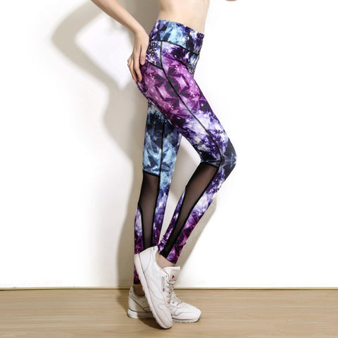 Multicolor Diamond Star Print Mesh Patchwork Fitness - CLEVERFITS