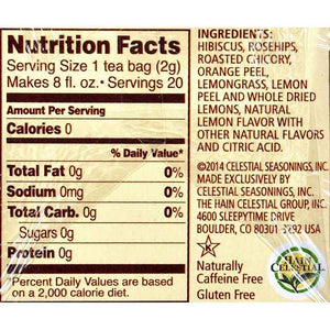 Celestial Seasonings Herbal Tea Caffeine Free Lemon Zinger - 20 Bags - Case Of 6