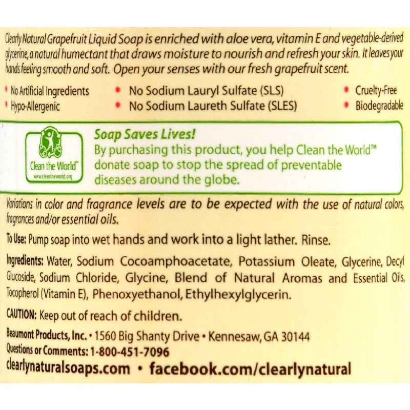 Clearly Natural Liquid Hand Soap Pump Grapefruit - 12 Fl Oz