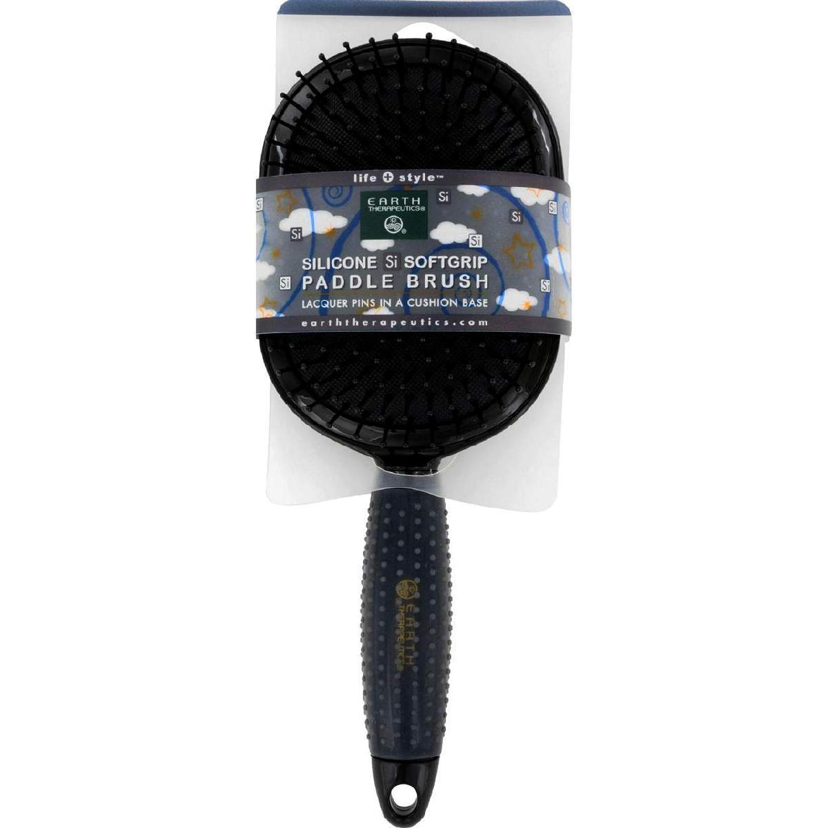Earth Therapeutics Hair Brush - Paddle - Silicon - Black - 1 Count