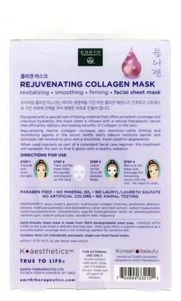 Earth Therapeutics Mask - Sheet - Collagen - 3Pk - .3 Oz