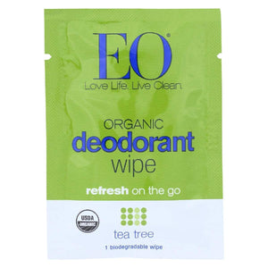 Eo Deodorant Wipe - Tea Tree - Case Of 24 - 1 Each