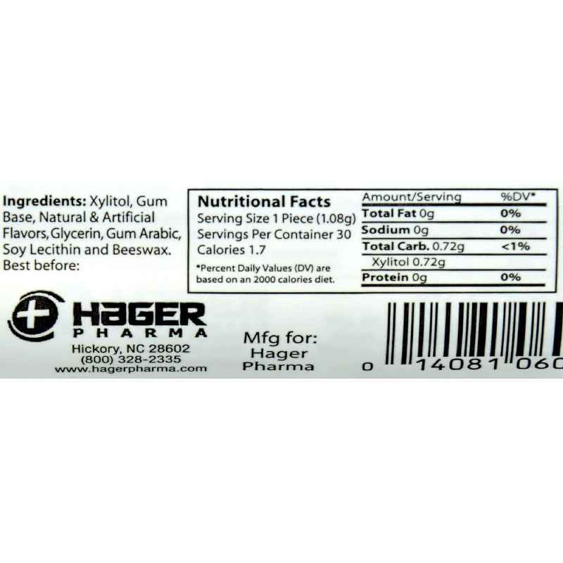 Hager Pharma Xylitol Chewing Gum - Cranberry - 30 Ct - Case Of 6