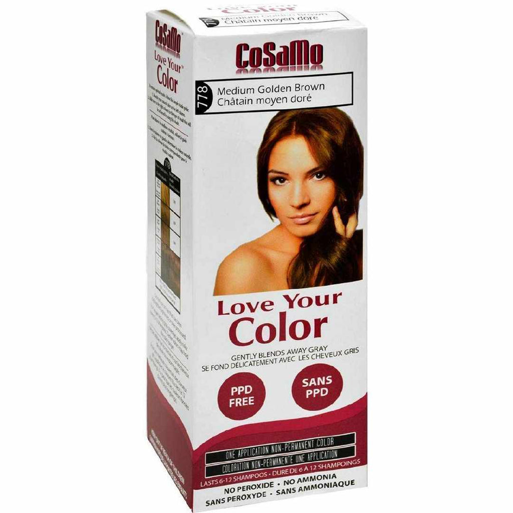 Love Your Color Hair - Cosamo - Non Permanent - Med Gold Brown - 1 Ct