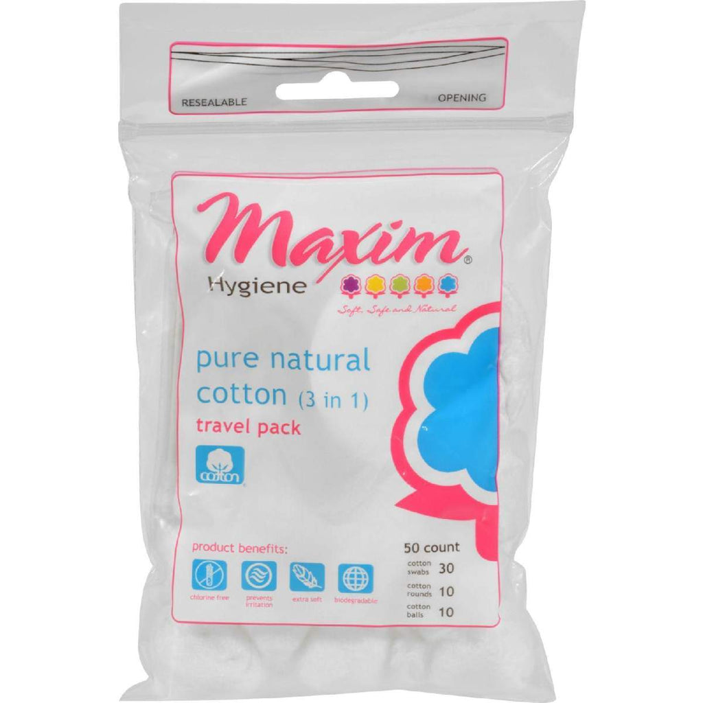 Maxim Hygiene 3 In 1 Pure Travel Pack - Cotton Swabs Rounds And Balls - 50 Count