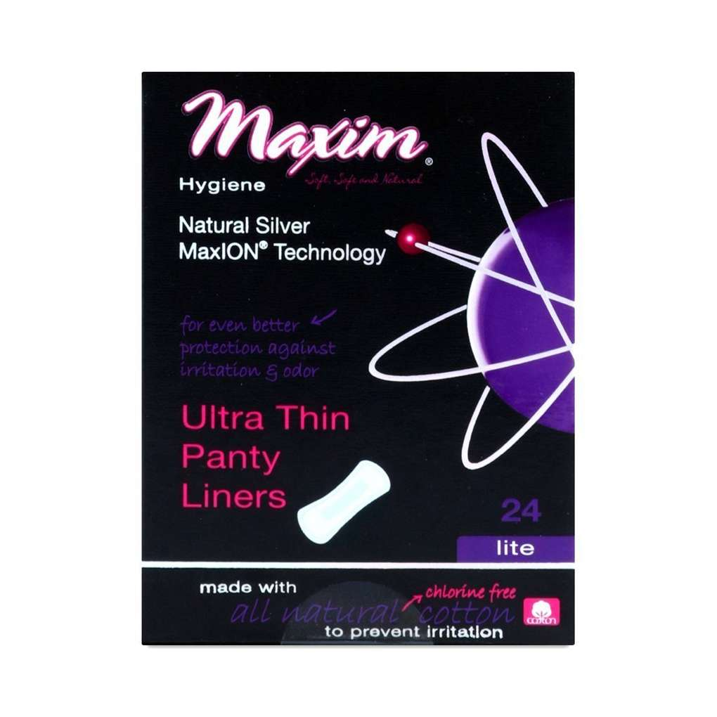 Maxim Hygiene Maxion Natural Cotton Ultra Thin Panty Liners Lite Flow 24 Count Disposable