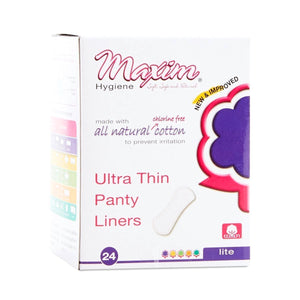 Maxim Hygiene Natural Cotton Ultra Thin Pantiliners Light Days - 24 Disposable Panty Liners
