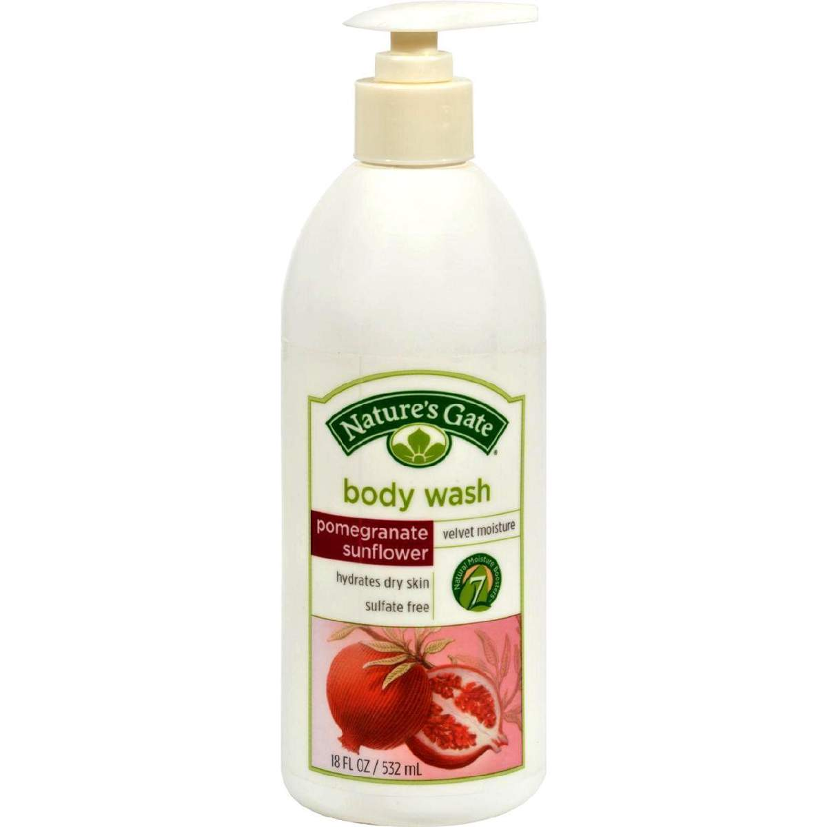 Natures Gate Body Wash Velvet Moisture Pomegranate Sunflower - 18 Fl Oz