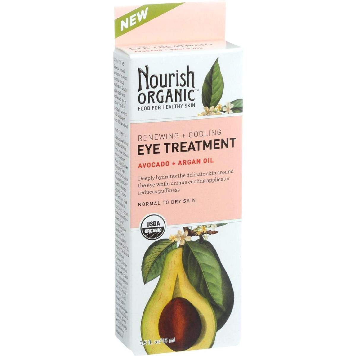 Nourish Organic Eye Treatment Cream - Renewing And Cooling - Avocado Argan Oil - .5 Oz