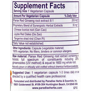Paradise Herbs Panax Red Ginseng - 60 Vegetarian Capsules