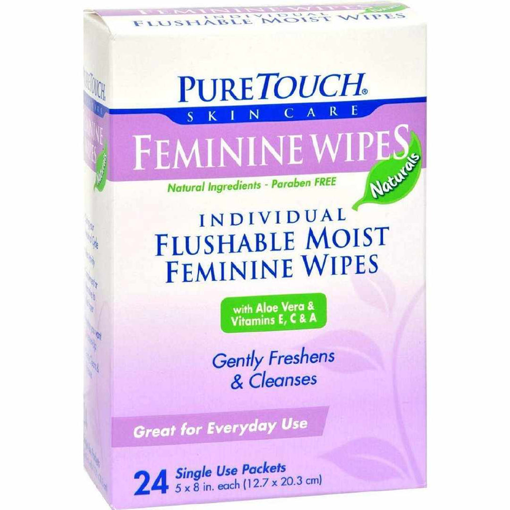 Puretouch Feminine Wipes Flushable - 24