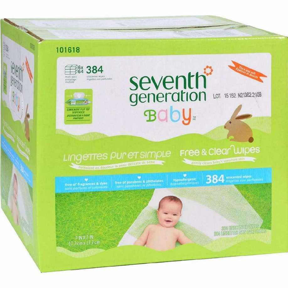 Seventh Generation Baby Wipes - Free And Clear - Multipack - 64 Each - 6 Count