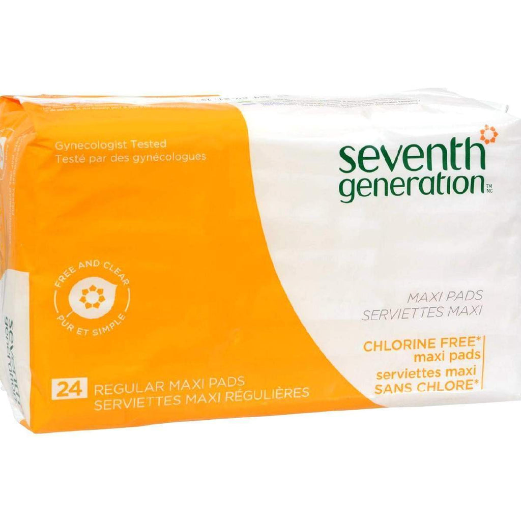 Seventh Generation Chlorine Free Maxi Pads Regular - 24 - Case Of 12
