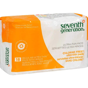 Seventh Generation Chlorine Free Ultra-Thin Pads Regular With Wings - 18 - Case Of 12