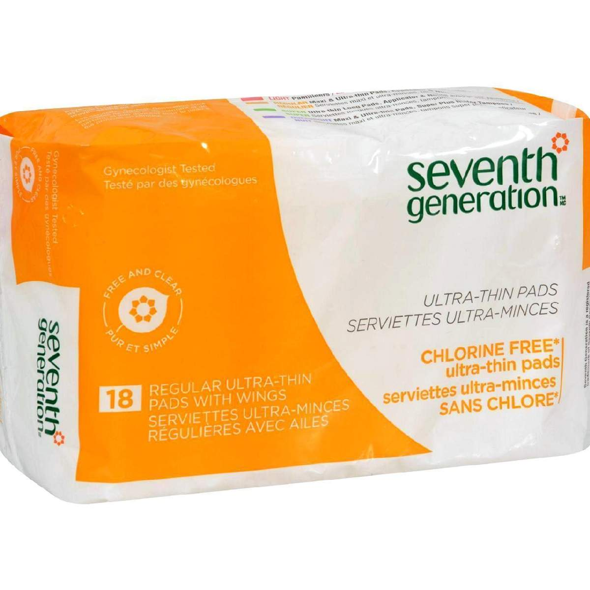 Seventh Generation Ultra Thin Maxi Pads - Chlorine Free - Regular With Wings - 18