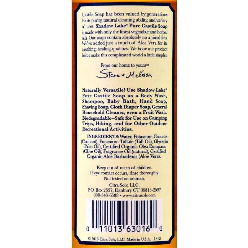 Shadow Lake Pure Castile Soap Vanilla Almond - 16 Fl Oz - Case Of 6