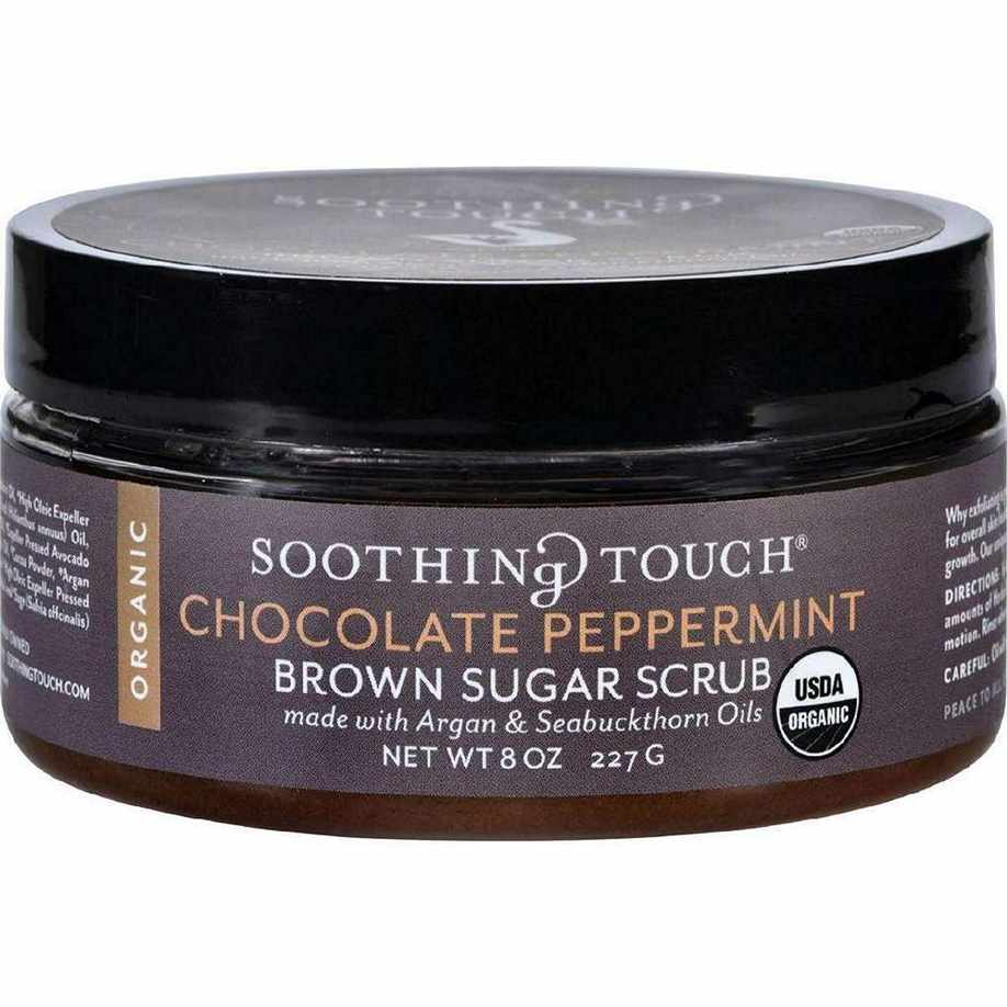 Soothing Touch Scrub - Organic - Sugar - Chocolate Peppermint Brown - 8 Oz