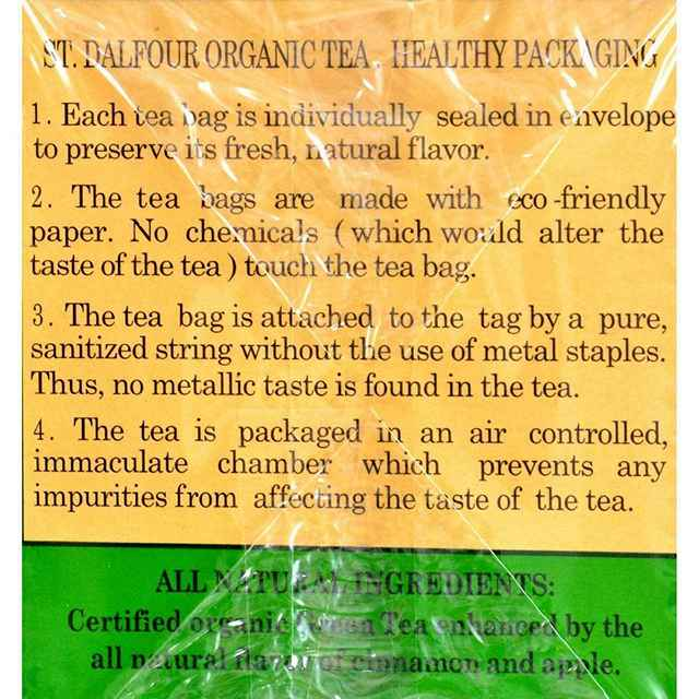 St Dalfour Organic Green Tea Cinnamon Apple - 25 Bags - Case Of 6
