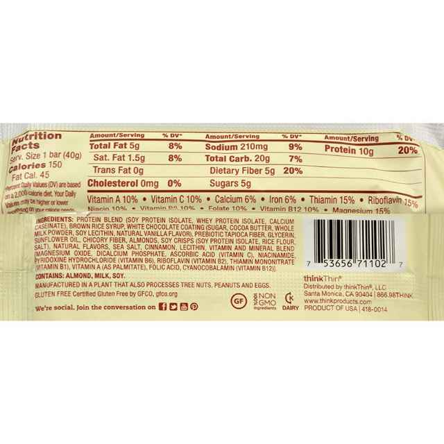 Think Products Thinkthin Bar - Lean Protein Fiber - Cinnamon Chocolate - 1.41 Oz - 1 Case