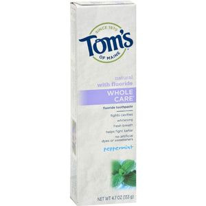 Toms Of Maine Whole Care Toothpaste Peppermint - 4.7 Oz - Case 6