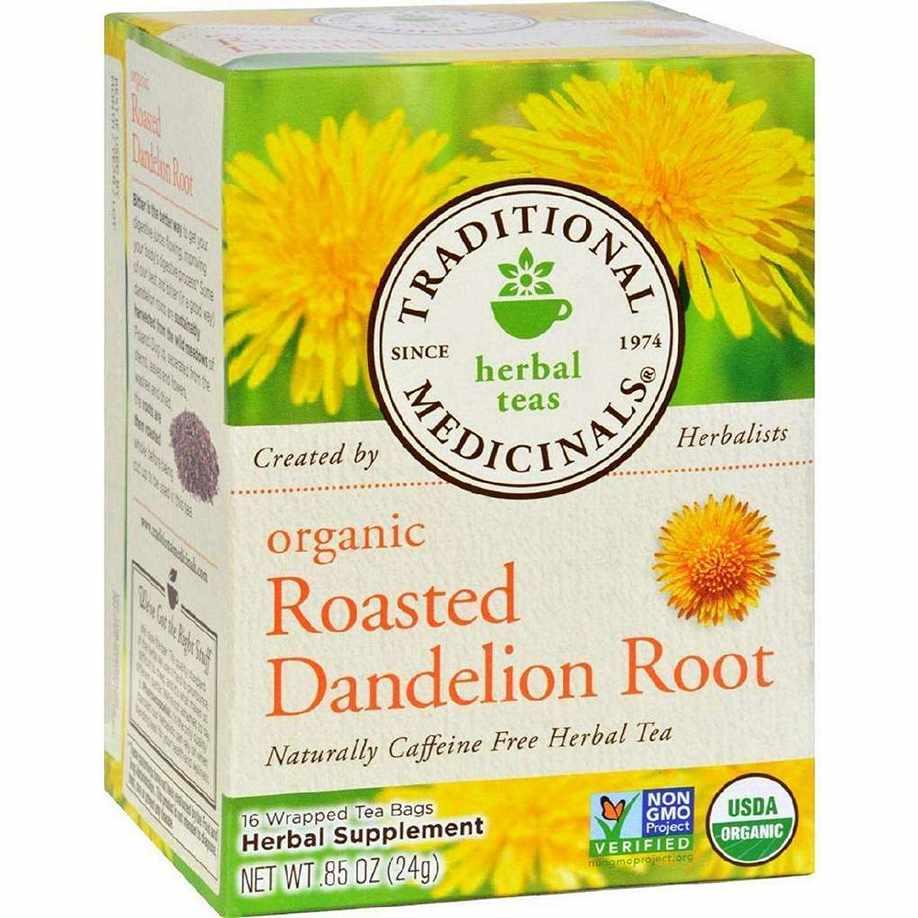 Traditional Medicinals Organic Roasted Dandelion Root Herbal Tea - 16 Bags - Case Of 6