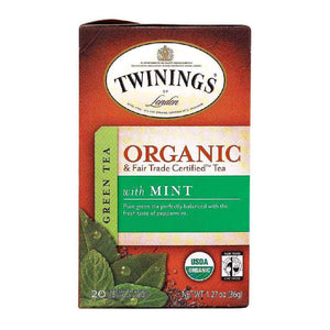 Twinings Tea - 100 Percent Organic - Green - With Mint - 20 Bags - Case Of 6