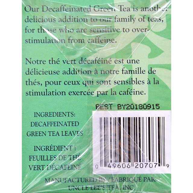 Uncle Lees Tea Decaffeinated Green - Case Of 6 - 20 Bags
