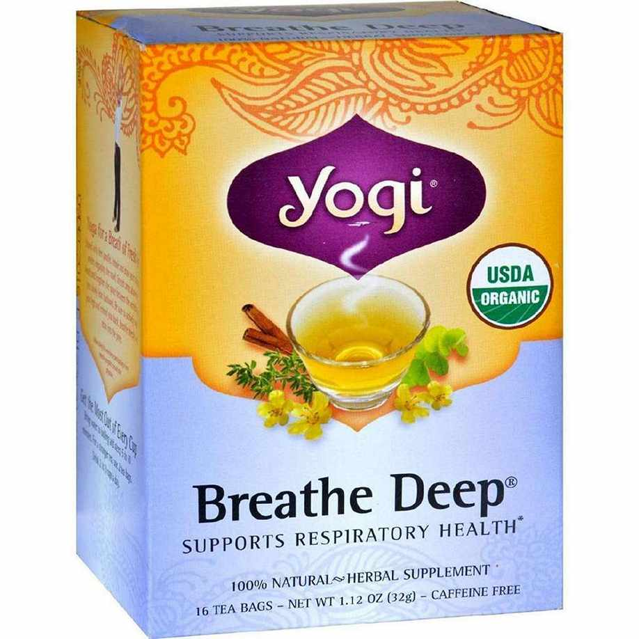 Yogi Organic Breathe Deep Herbal Tea Caffeine Free - 16 Bags - Case Of 6