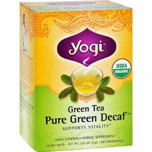 Yogi Organic Green Tea Caffeine Free - 16 Bags - Case Of 6