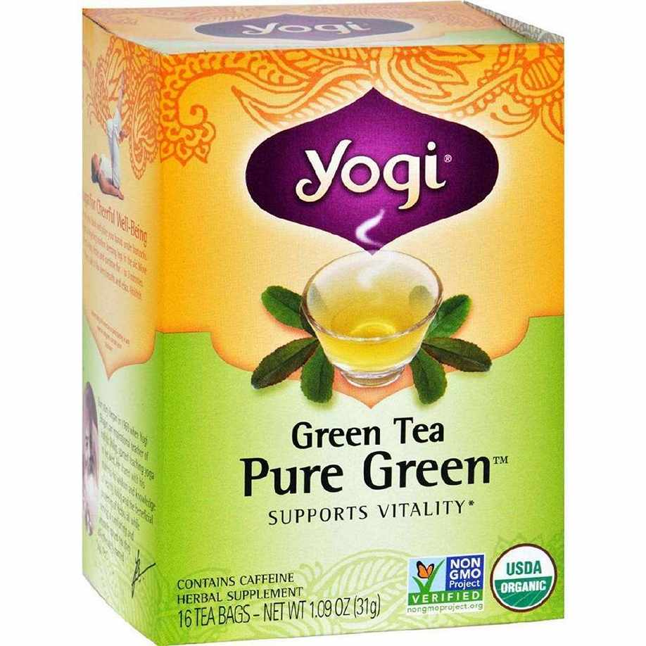 Yogi Organic Pure Green Herbal Tea - 16 Bags - Case Of 6
