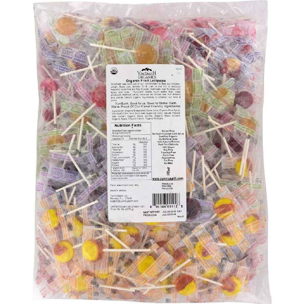 Yummy Earth Organic Fruit Lollipops - Assorted Fruits Flavors - 5 Lb Container