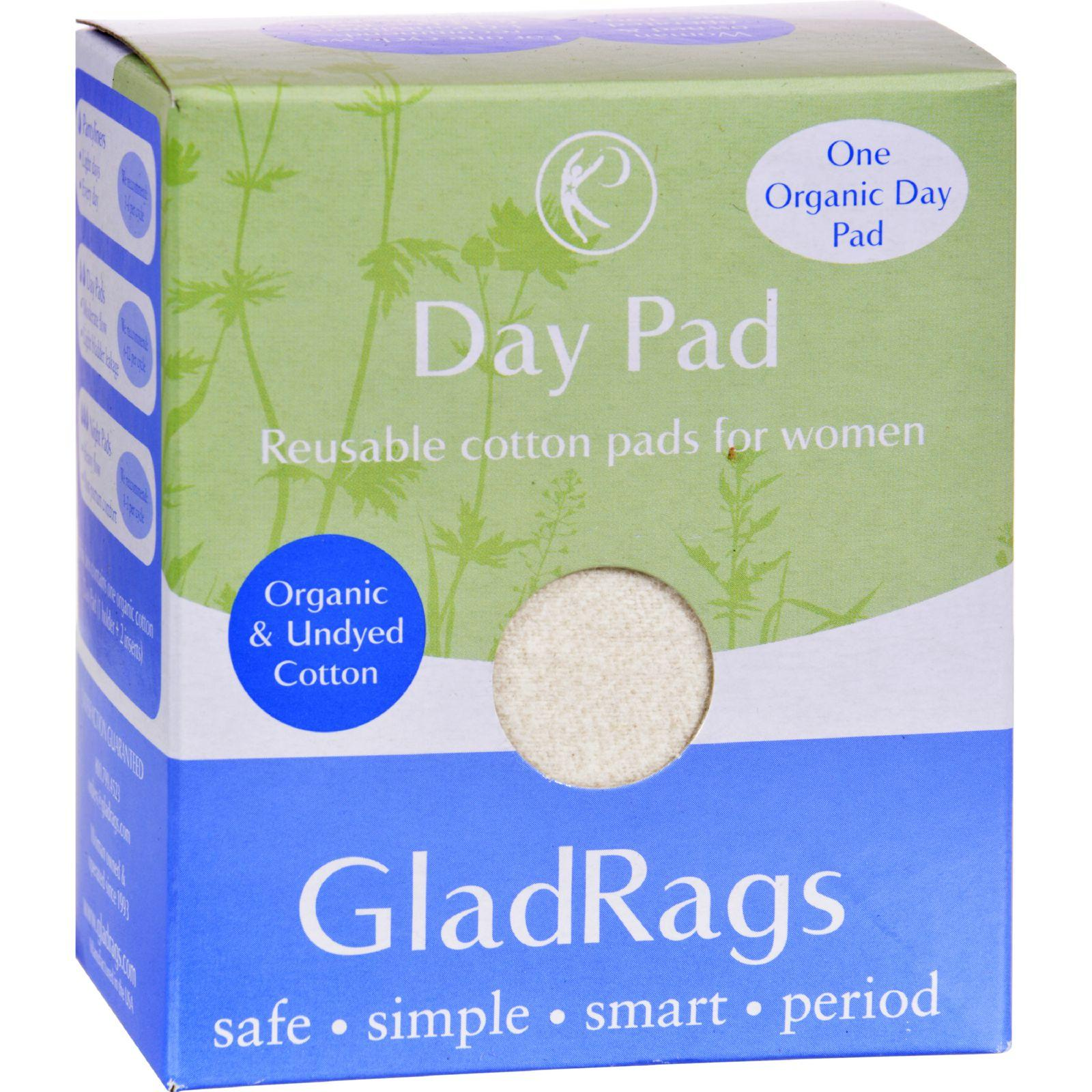 Gladrags Organic Cotton Day Pad - Undyed - 1 Pack (Reusable Sanitary Napkin)