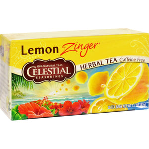 Celestial Seasonings Herbal Tea Caffeine Free Lemon Zinger - 20 Tea Bags - Case Of 6