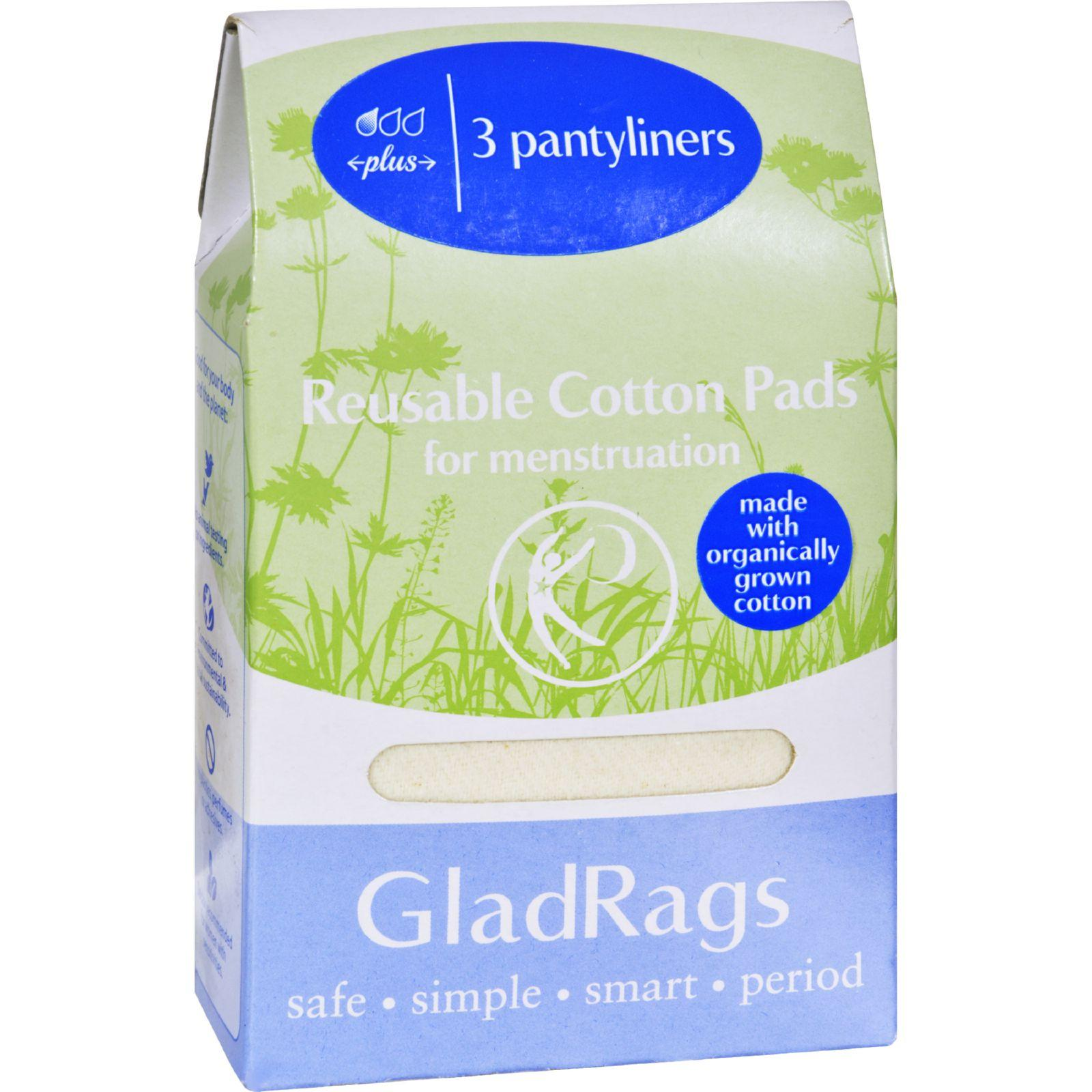Gladrags Organic Cotton Pantyliner Plus - Undyed - 3 Pack (Reusable Cloth Panty Liners)
