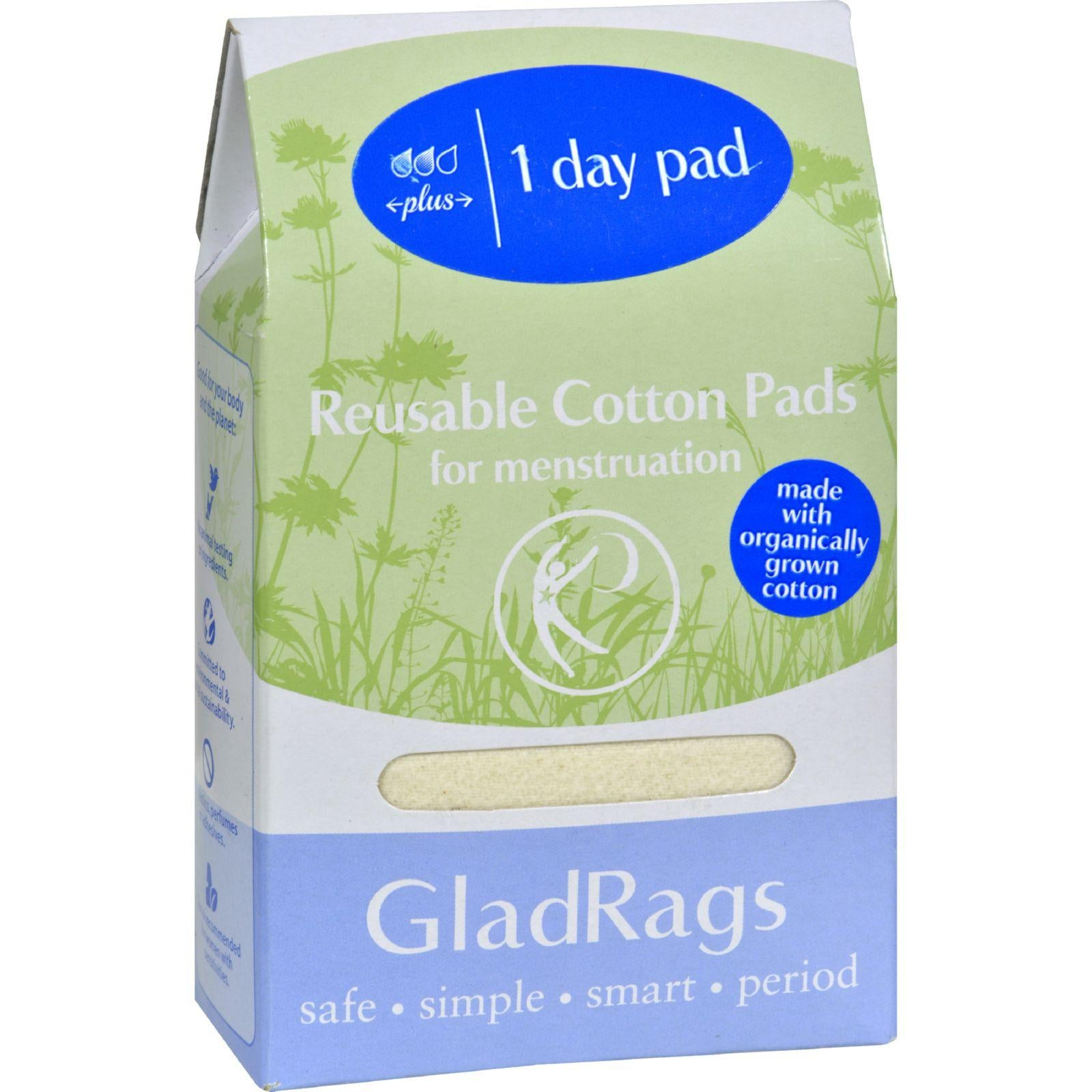 Gladrags Organic Cotton Day Pad Plus - Undyed - 1 Count (Reusable Sanitary Napkin)