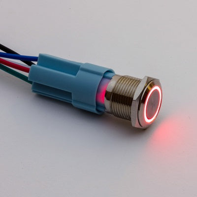 16mm Rugged Metal LED Button - Momentary - TinkerTech