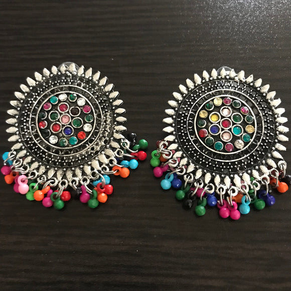 Round Oxidised multicolor earrings - The Simple Flair