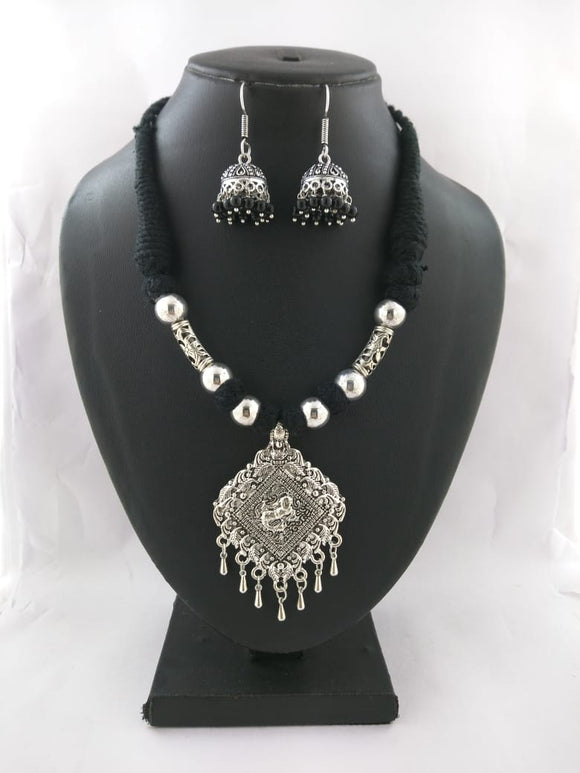 Oxidized Thread Necklace set - Heera - The Simple Flair