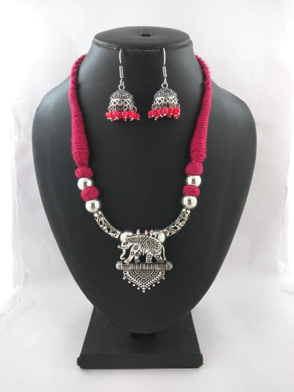 Oxidized Thread Necklace set - Haathi - The Simple Flair
