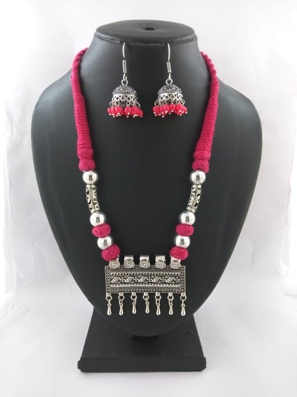 Oxidized Thread Necklace set - Aayat2 - The Simple Flair