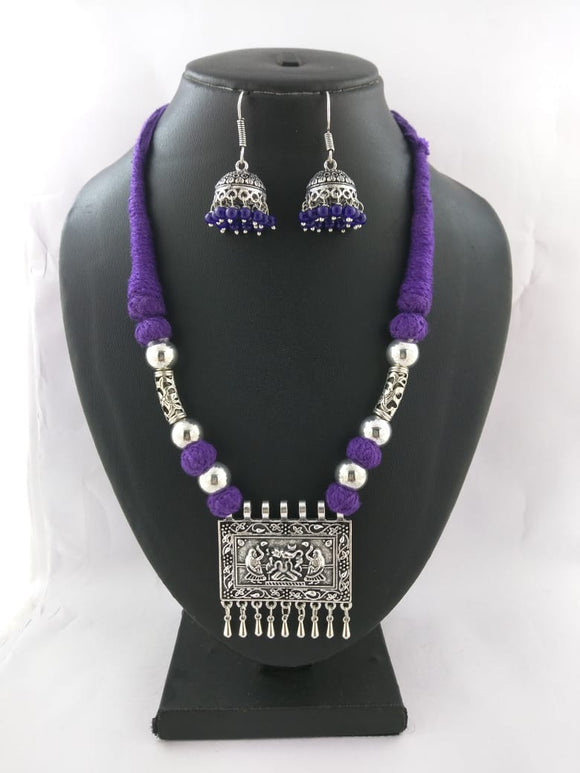 Oxidized Thread Necklace set - Aayat - The Simple Flair