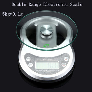 Brand 5kg*0.1g Double Range Electronic Scales 5000g/0.1g LCD Digital Kitchen Scale Food Time Weight Balance Cooking Tools