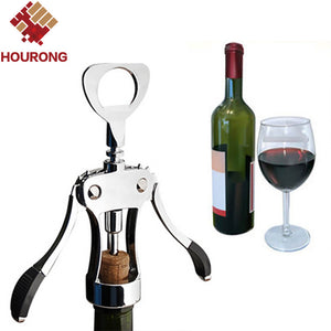 Hourong 1Pc Professional Stainless Steel Wine Bottle Opener Handle Pressure Corkscrew Red Wine Opener Kitchen Accessory Bar Tool