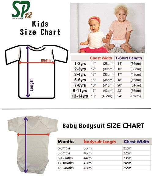 Kids T Shirts Size Chart - Children Clothing Size Measurement UK USA Europe - SP12 shop