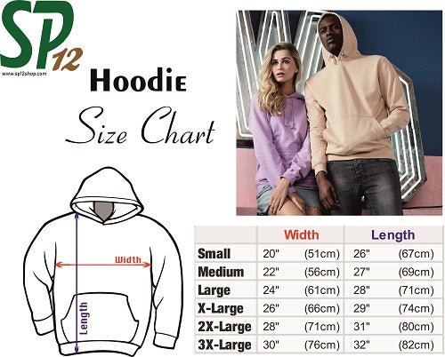 Hoodies Size Chart - SP12 Hooded Sweatshirts Size Measurement UK USA Europe