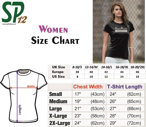 Women T Shirts Size Chart - SP12 - Size Measurement for Ladies Tees UK USA Europe