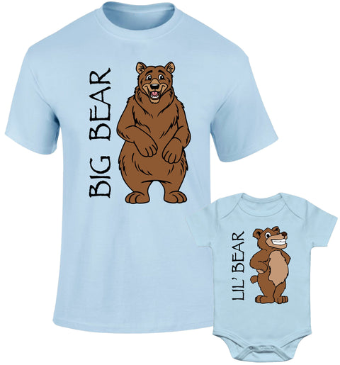 Father Daddy Daughter Dad Son Matching T shirts Big Bear Lil' Bear